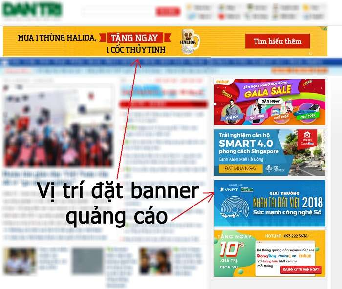 vị trí quảng cáo banner